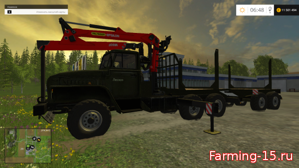 Лесозагатовка для Мод Лесовоз «УРАЛ» + прицеп v3.0 для Farming Simulator 2015