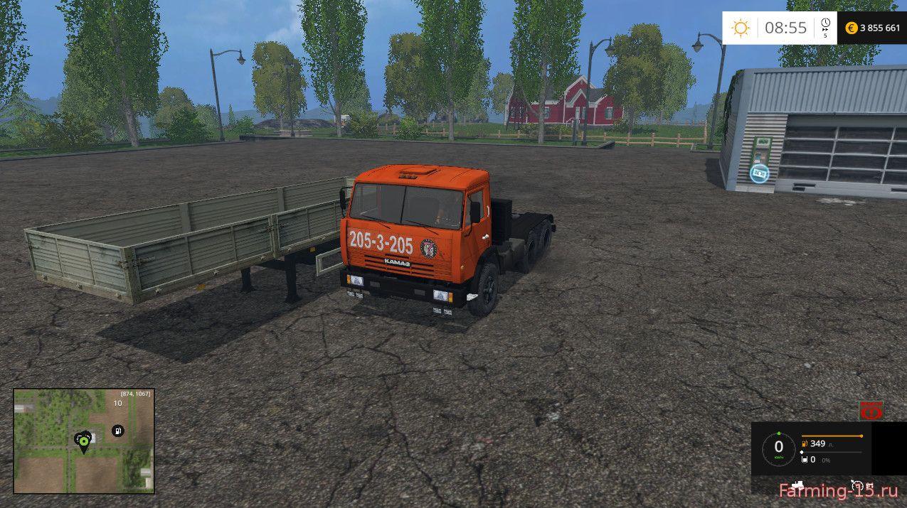 Русская техника для Мод грузовик КамАЗ 54115 с прицепом ОдАЗ 9380 для Farming Simulator 2015
