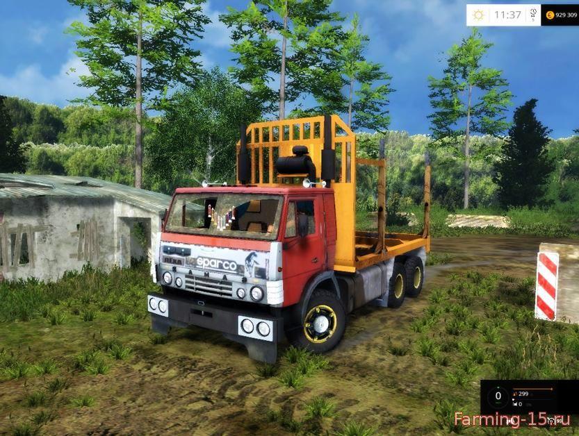 Русская техника для Мод грузовик КамАЗ для перевозки леса для Farming Simulator 2015