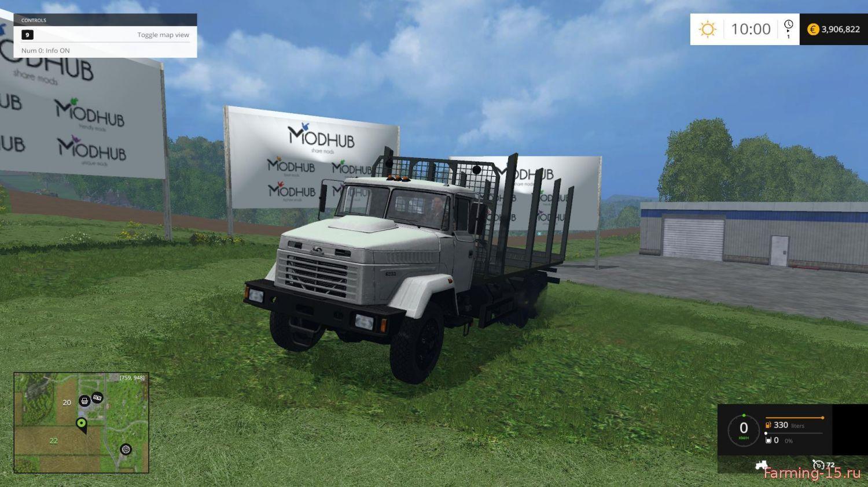 Русская техника для Мод грузовик-лесовоз КРАЗ-6233 с прицепом для Farming Simulator 2015