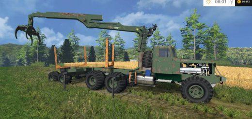 Русская техника для Мод грузовик-лесовоз КРАЗ с погрузчиком для Farming Simulator 2015