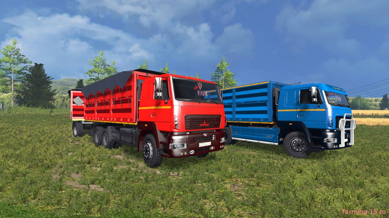 Русская техника для Мод грузовик МАЗ Колос + прицеп для Farming Simulator 2015