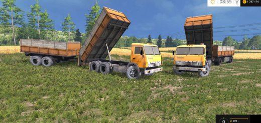 Русская техника для Мод-пак грузовик КамАЗ 55102 и прицепы V1.3 для Farming Simulator 2015