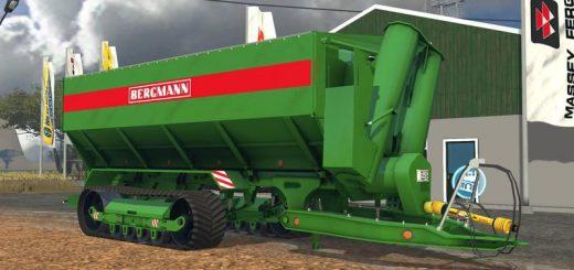 Прицепы для Мод гусеничный прицеп со шнеком «Bergmann» для Farming Simulator 2015