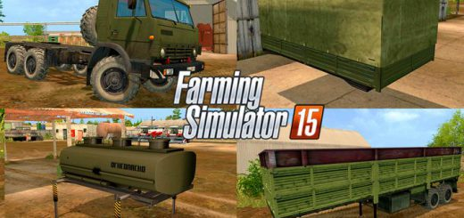 Русская техника для Мод-пак грузовик КамАЗ 43114 и модули V 2.0 для Farming Simulator 2015