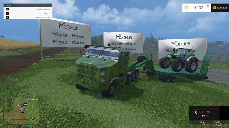 Грузовики для Мод грузовик Oshkosh M1070 с тралом для Farming Simulator 2015