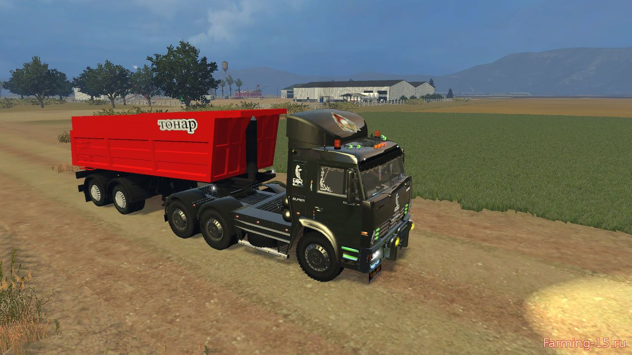 Русская техника для Мод грузовик КамАЗ 54115 v2.0 и прицеп СЗАП-9517 для Farming Simulator 2015