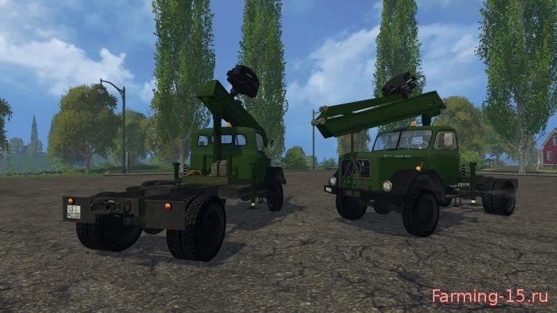 Лесозагатовка для Мод лесовоз с манипулятором и лесовозным прицепом для Farming Simulator 2015