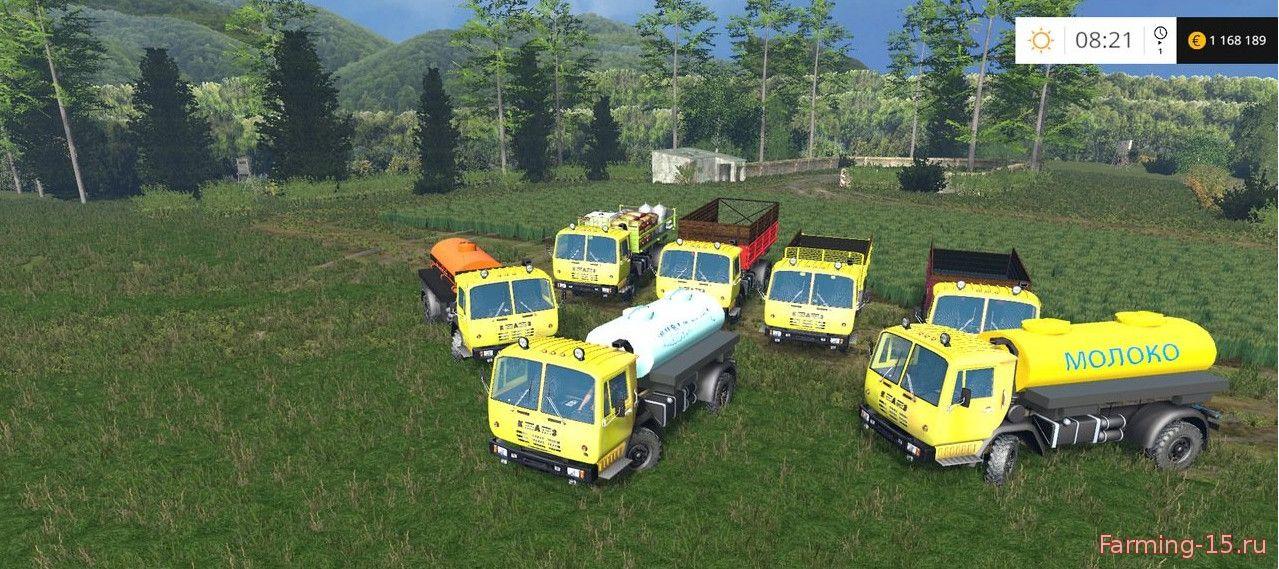 Русская техника для Мод-пак грузовик КАЗ 4540 и прицепы V1.2 для Farming Simulator 2015