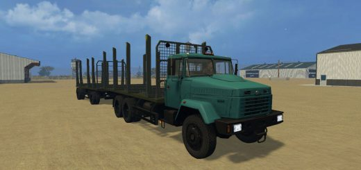 Русская техника для Мод грузовик КрАЗ 6233 с прицепом для Farming Simulator 2015