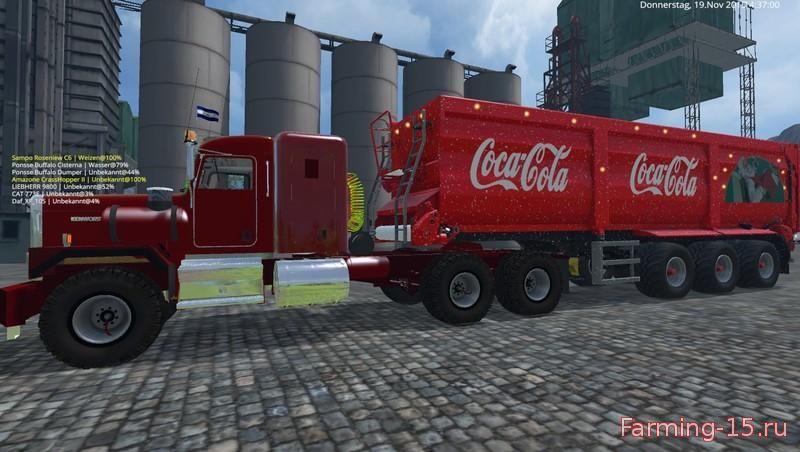 Прицепы для Мод прицеп Coca Cola Christmas v2.0 для Farming Simulator 2015