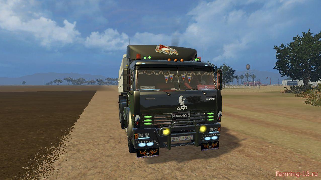 Русская техника для Мод грузовик КамАЗ 54115 v2.0 и прицеп для Farming Simulator 2015