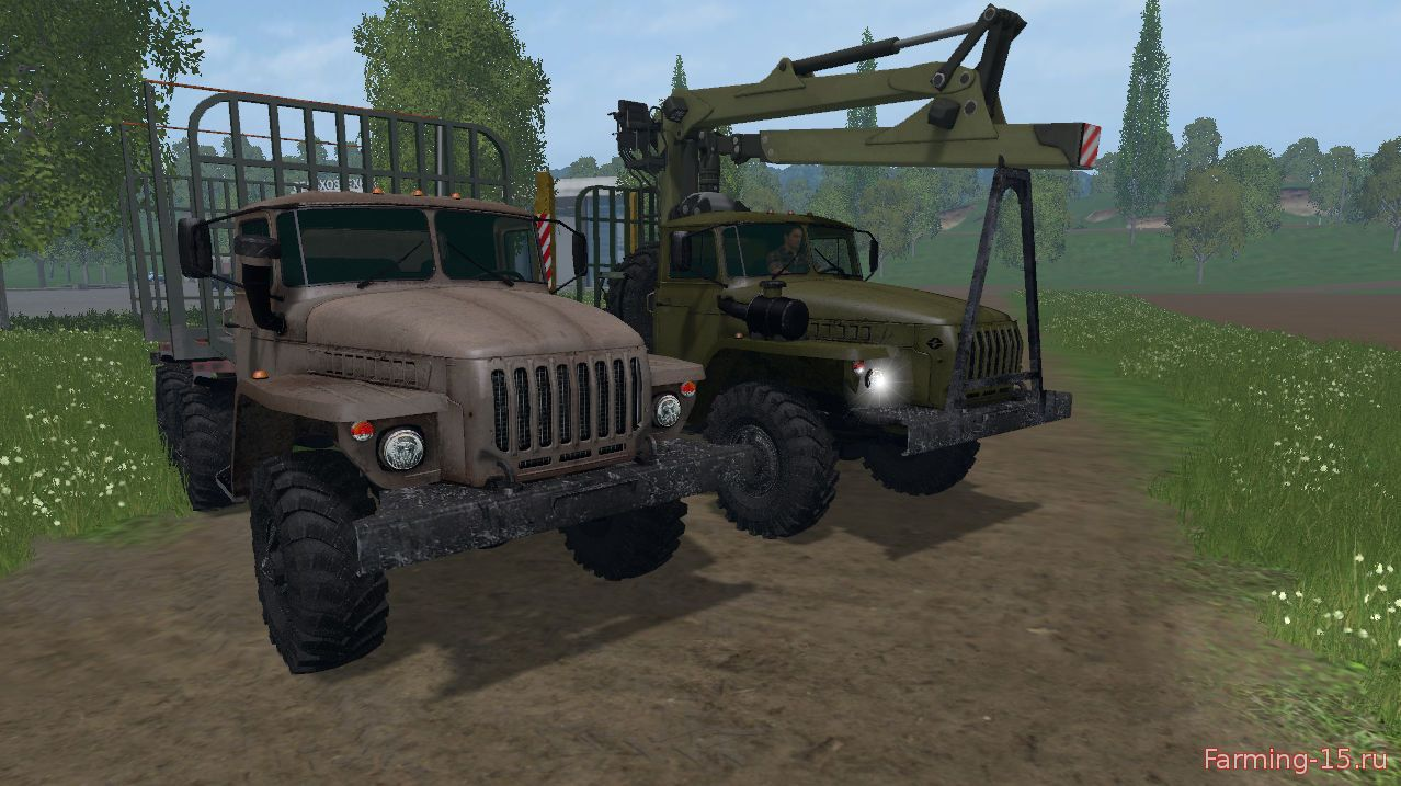 Русская техника для Мод грузовик Урал лесовоз и прицеп для Farming Simulator 2015