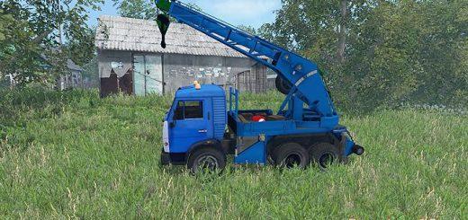 Русская техника для Мод грузовик с манипулятором КамАЗ для Farming Simulator 2015