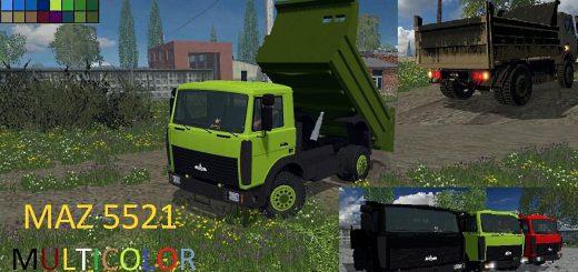 Русская техника для Мод грузовик МАЗ 5551 V3.0 для Farming Simulator 2015