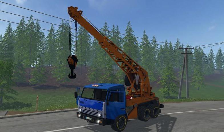 Русская техника для Мод грузовик «КамАЗ кран v 2.2» для Farming Simulator 2015