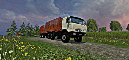 Русская техника для Мод грузовик Камаз 43118 6x6 (силосный с прицепом) для FS 2015