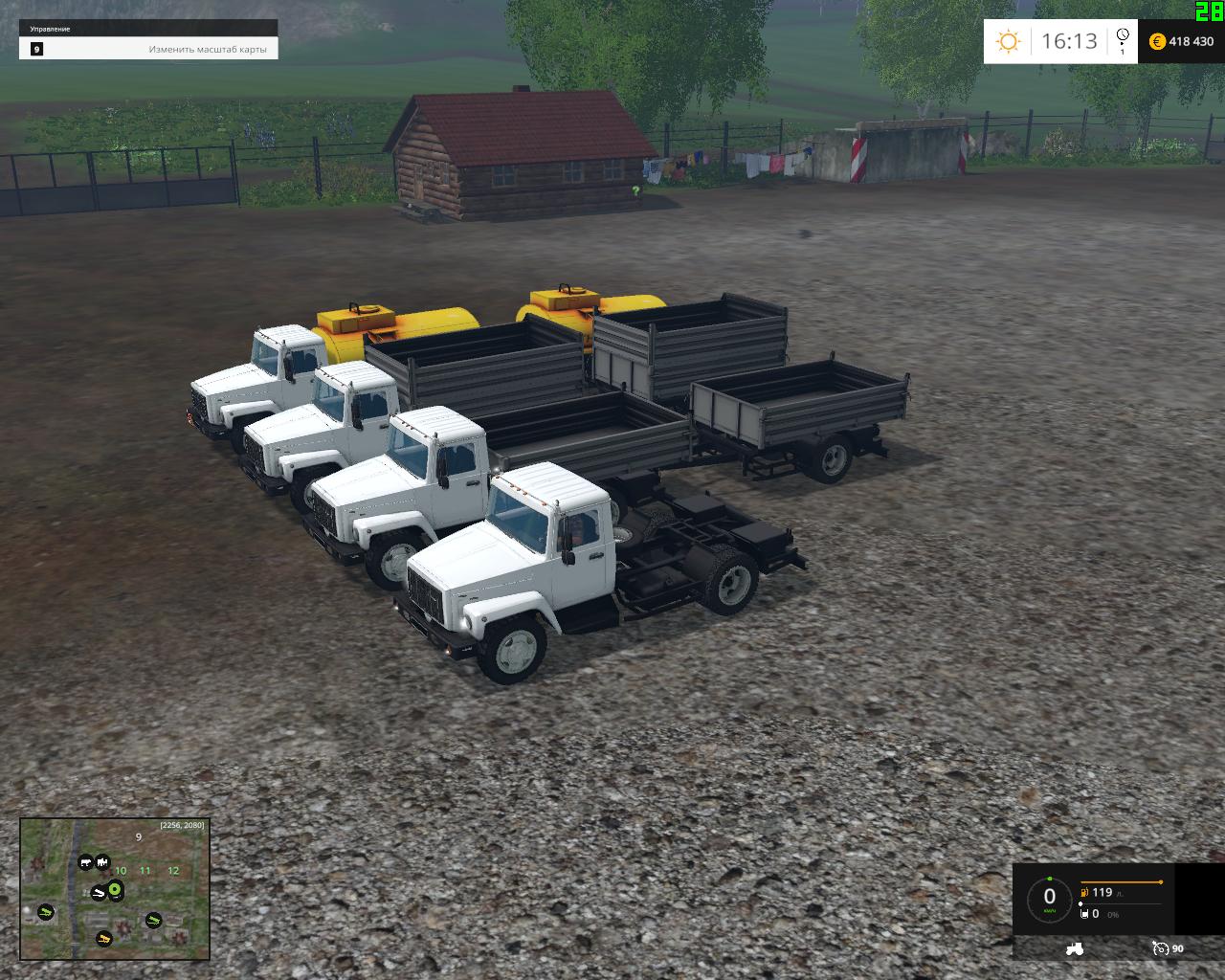 Русская техника для Мод-пак грузовиков и модулей «Газ 35071» для Farming Simulator 2015