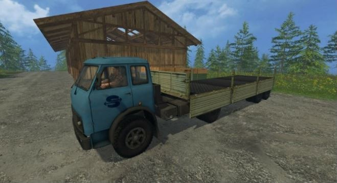Русская техника для Мод грузовик «МАЗ-509 и прицеп 9380 v 1.0» для Farming Simulator 2015