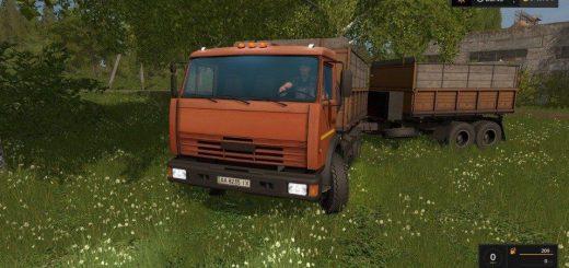 Русская техника для игры мод Мод грузовик «КамАЗ 43255С» и прицеп для Farming Simulator 2017