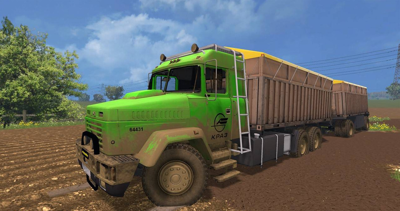 Русская техника для Мод грузовик КрАЗ 64431 (с прицепом) v1.1 для Farming Simulator 2015