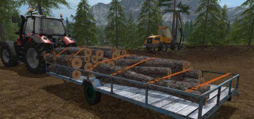 Прицепы для игры мод Мод прицеп для бревен с ремнями для Farming Simulator 2017