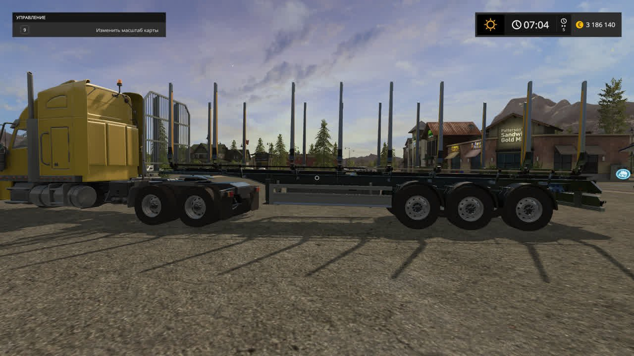 Прицепы для игры мод Мод прицепа для бревен с автовыгрузкой для Farming Simulator 2017