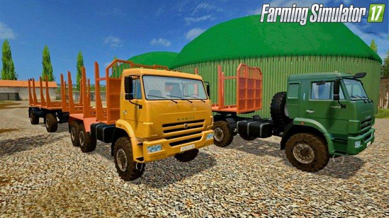 Русская техника для игры мод Мод-пак грузовики «КамАЗ 43118 - 44108» и прицепы для леса для Farming Simulator 2017
