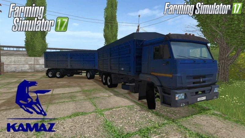 Русская техника для игры мод Мод грузовик КамАЗ 65221 v1.0  и прицеп для Farming Simulator 2017