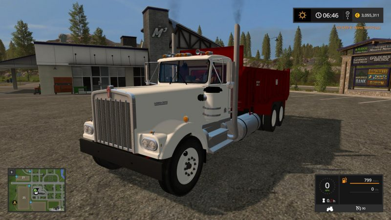 Грузовики для игры мод Мод на грузовик «Kenworth W900A Manure Spreader v1» для Farming Simulator 2017