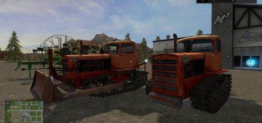 Гусеничный транспорт для игры мод DT-75 and leveler v1.1 для Farming Simulator 2017
