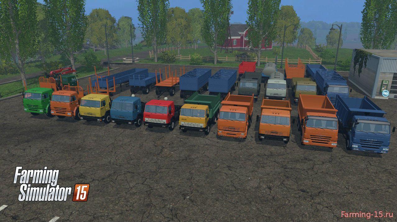 Русская техника для Мод-пак грузовиков КамАЗ и прицепы для Farming Simulator 2015