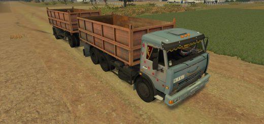 Русская техника для Мод грузовик КамАЗ-45143 и прицеп V1 для Farming Simulator 2015