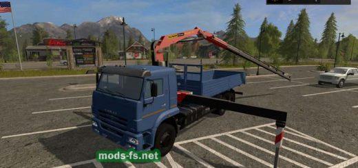 Русская техника для игры мод Мод грузовика КамАЗ-65117 КМУ с манипулятором для Farming Simulator 2017