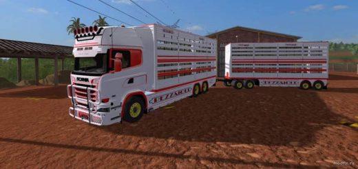 Грузовики для игры мод Мод грузовик SCANIA R730 транспортировка животных и Прицеп (v1.0 Ap0lLo) для Farming Simulator 2017