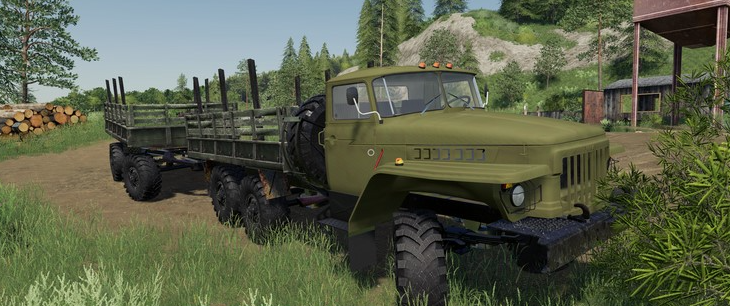 Мод на грузовик УРАЛ-375 Лесовоз для Farming Simulator 2019