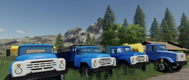 Мод на пак грузовиков ЗИЛ и прицепов для Фермер Симулятор 2019