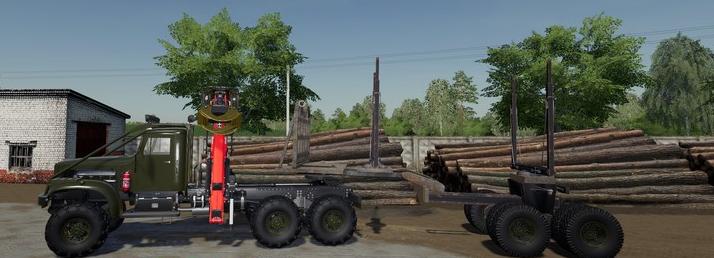 Скачать мод на грузовик КрАЗ 255Б Лесовоз для Farming Simulator 2019