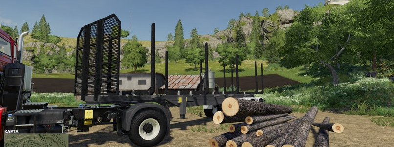 Мод на прицеп для бревен для Farming Simulator 19