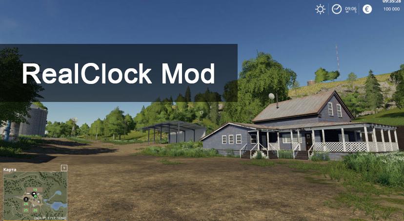 Мод который выодит реальное время в Farming Simulator 2019