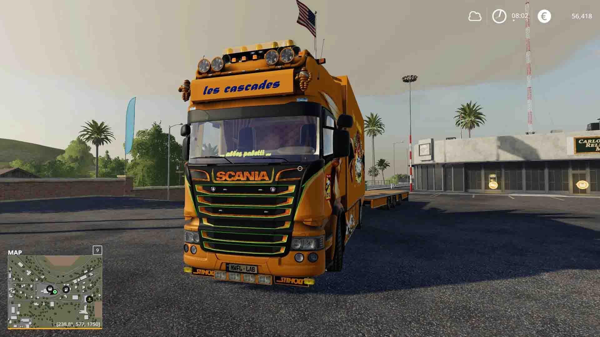 Мод на грузовик Scania Cascades для Farming Simulator 2019